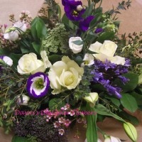 Just Smile hand tied blue, purple and white bouquet