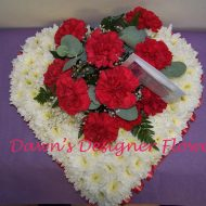 Red and white based heart funeral tribute