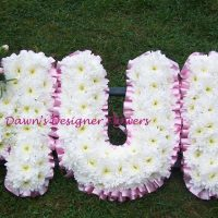 Letters from flowers, chrysanthemums,roses carnations