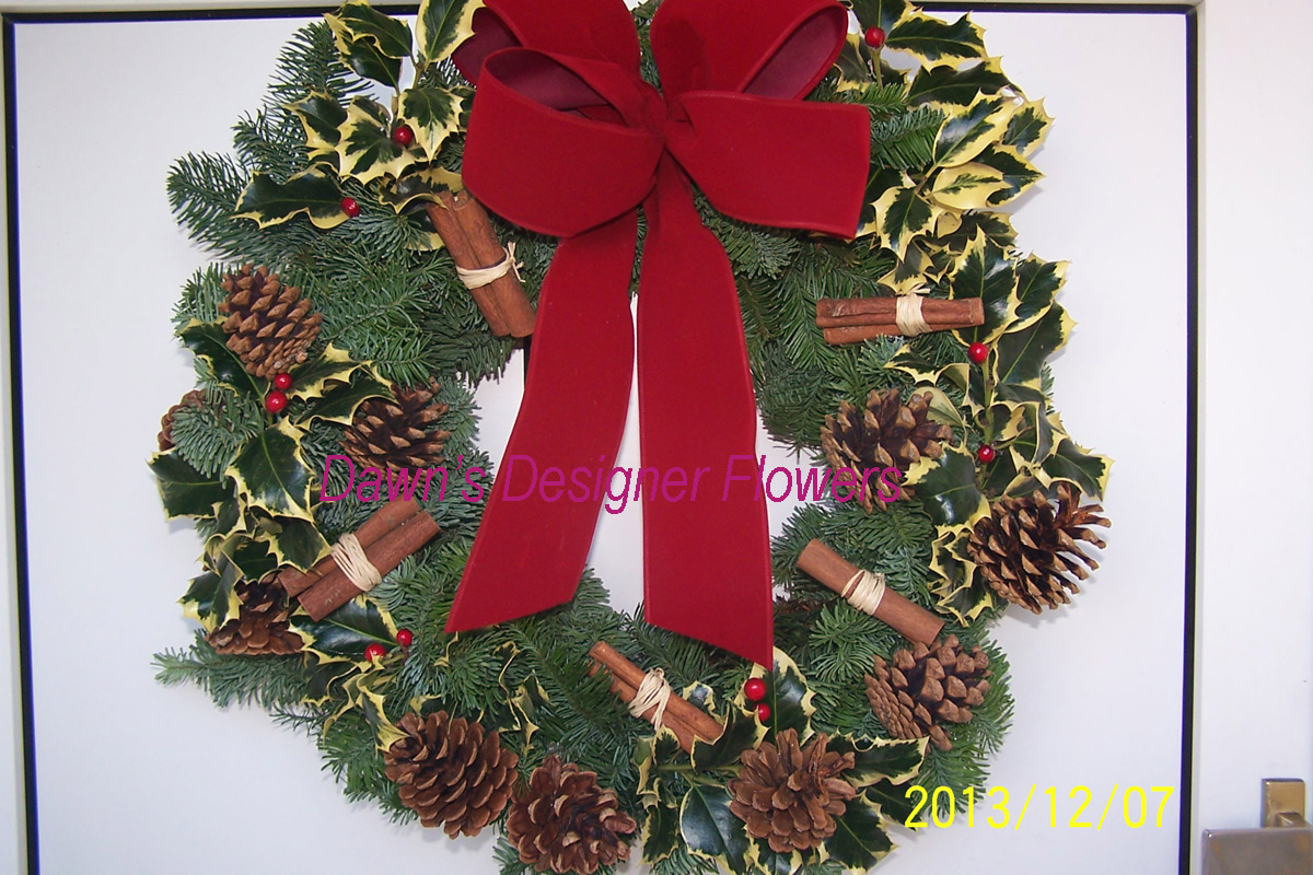 Traditional Christmas Door Wreath Buy Christmas Flowers