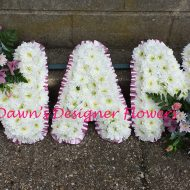 Pink and white colour letters