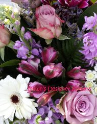 scented stocks,gerbera,alstromeria, purple,cream,pink, lilac flowers