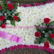 white chrysanthemums,pillow from flowers,red rose corsage