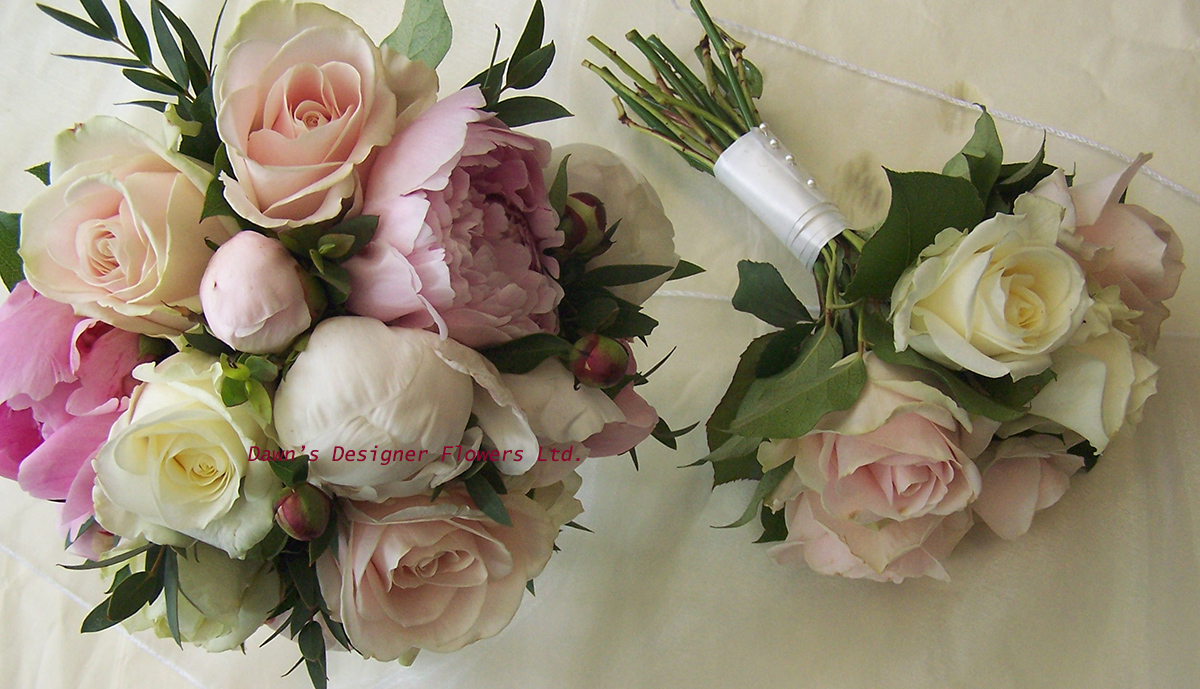 Pink and cream peony and rose bouquet
