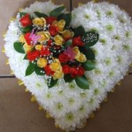 Funeral flowers heart tribute