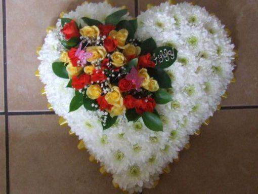 Funeral flowers heart tribute