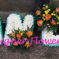lettes Grandad from fresh flowers, white colour green ribbon