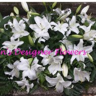 White lilies,casket spray