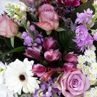 scented stocks,gerbera,alstromeria, purple,cream,pink, lilac flowers