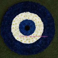 Evil Eye from flowers, funeral tribute